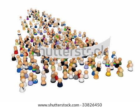 Crowd of small symbolic 3d figures with large banner, isolated