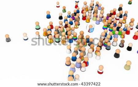 Crowd of small symbolic 3d figures with shield, isolated