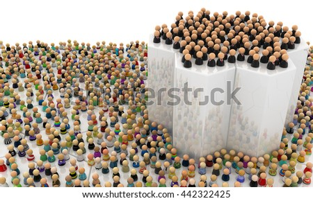 Crowd of small symbolic figures, elevated group, 3d illustration, horizontal