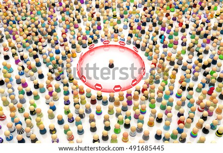 Crowd of small symbolic figures, personal space border, 3d illustration, horizontal