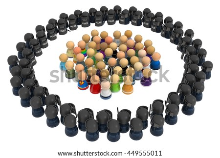 Crowd of small symbolic figures, riot police ring, 3d illustration, horizontal, over white, isolated