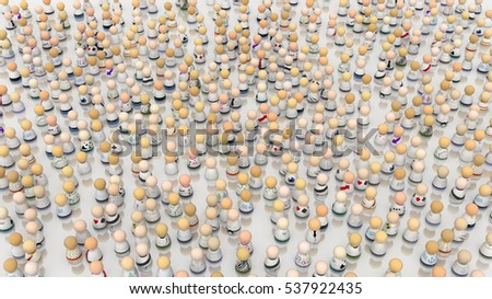 Crowd of small symbolic figures, white colors, 3d illustration, horizontal