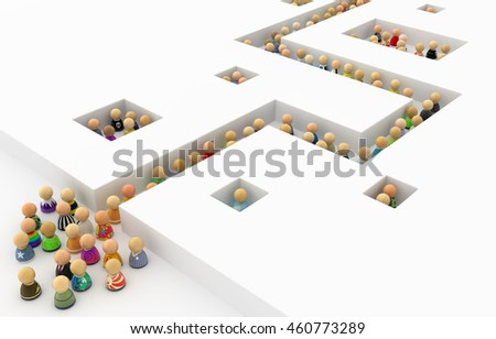 Crowd of small symbolic figures white corridor, 3d illustration, horizontal