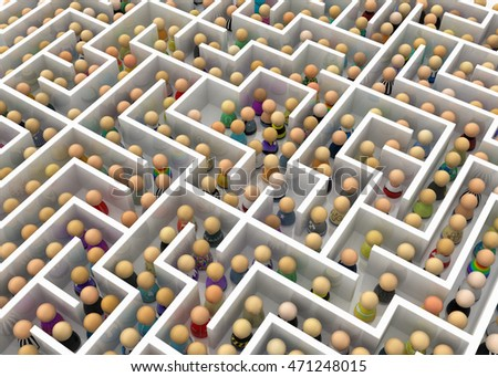 Crowd of small symbolic figures white labyrinth, 3d illustration, horizontal