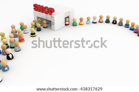 Crowd of small symbolic figures, white shop, 3d illustration, horizontal