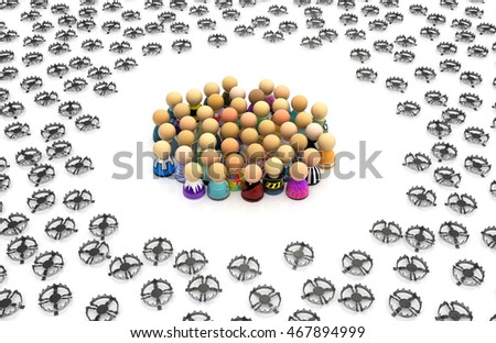Crowd of small symbolic figures with traps, 3d illustration, horizontal