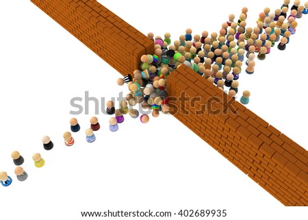 Crowd of small symbolic figures, with walls, over white, 3d illustration - stock photo