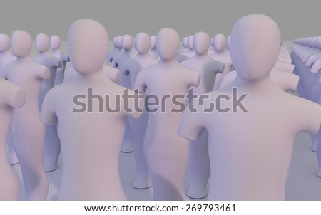 Crowd of white mannequin - stock photo