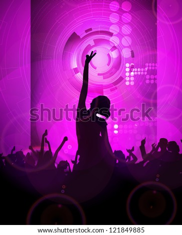 Crowd of young people. Music illustration