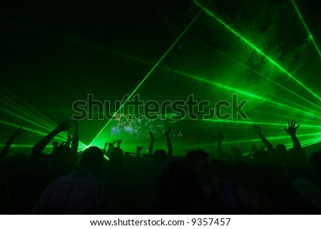 crowd on night party - stock photo