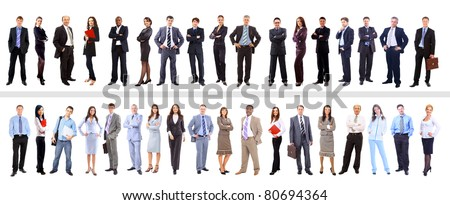 Crowd or group of business people isolated in white - stock photo