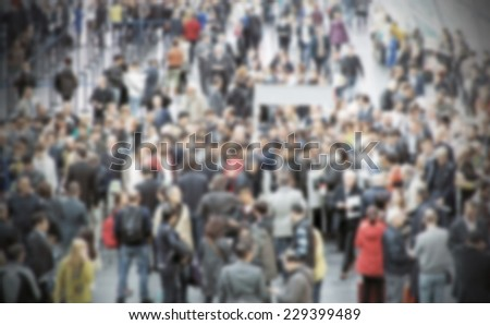 Crowd people background, intentional blurred post production - stock photo