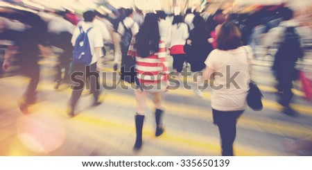 Crowd People Commuter Crosswalk Hurrying Concept - stock photo