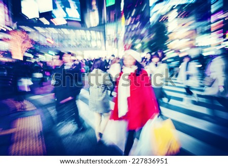 Crowd Shopping Consumer City Rush Hour Concept - stock photo