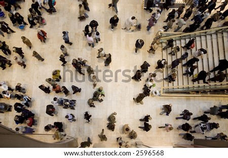 crowd topshot - stock photo