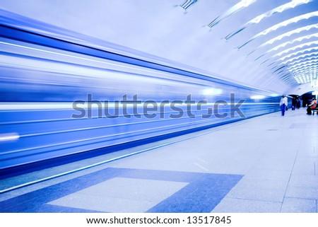 crowd waiting train on platform in subway - stock photo