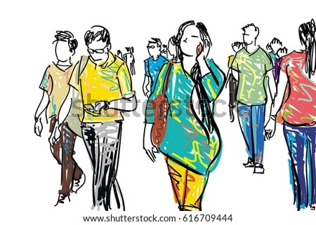 crowd walking cartoon sketchのイラスト素材 616709444 shutterstock