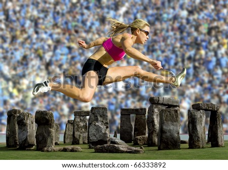 Crowd watches an athlete hurdle over Stonehenge. - stock photo
