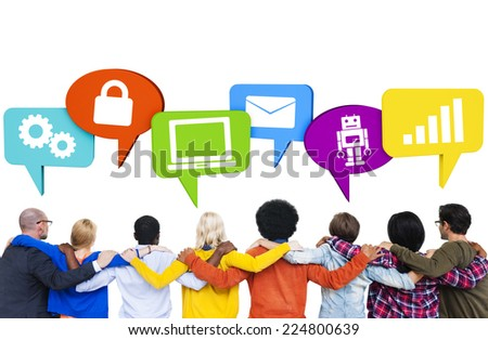 Crowd with hands on their shoulders and speech bubbles with technology themed pictures.  - stock photo