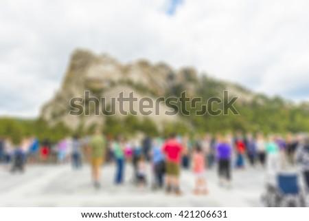 crowded at mt. rushmore,South Dakota,usa. - stock photo