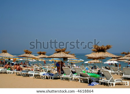 Crowded Black sea beach - stock photo