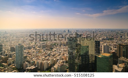 Crowded Buildings Tokyo Cityscape At Sunset