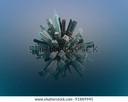crowded city around a globe - stock photo