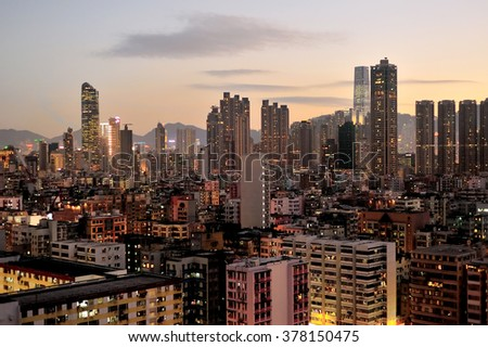 Crowded Hong Kong with a lot of high density building. - stock photo