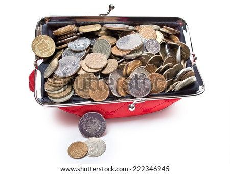 Crowded in the drop-down purse Russian coins - stock photo