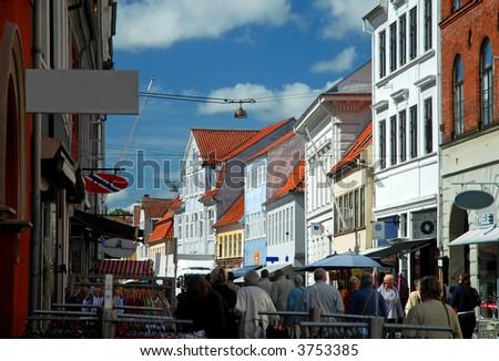 crowded medieval scandinavian street - stock photo