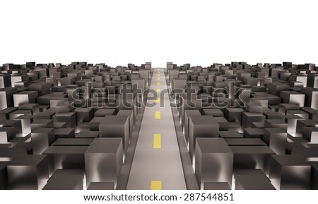 crowded modern city with main road. isolated white background. 3d rendered - stock photo