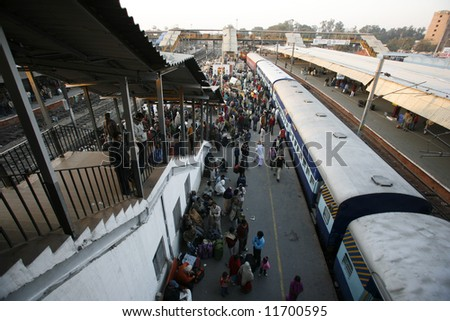 crowded new delhi railway station, delhi, india