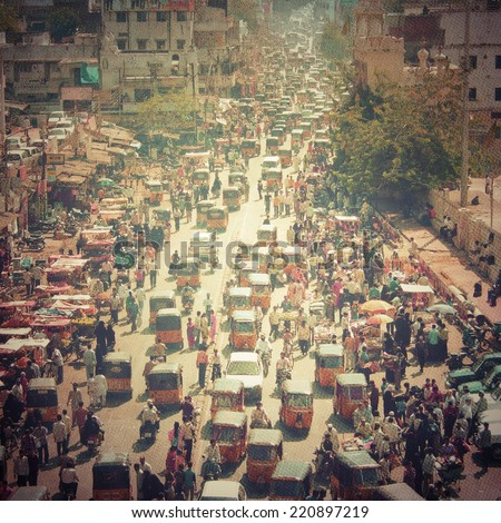 Crowded street in India - stock photo