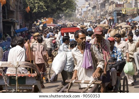 Crowded street scene from Old Delhi, India - stock photo