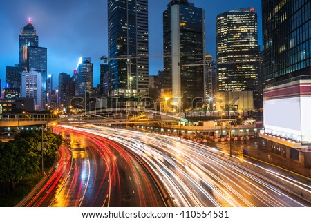 crowded traffic in the downtown district,hongkong china. - stock photo