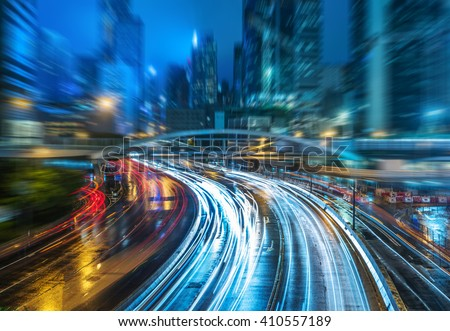 crowded traffic in the downtown district,hongkong china - stock photo