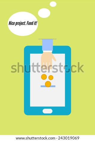 Crowdfunding flat design concept of mobile payment. Donation through mobile device, smartphone. Fund the perspective project using the Internet - stock photo
