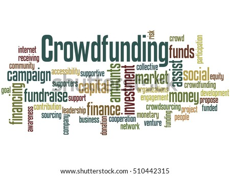 Crowdfunding, word cloud concept on white background.