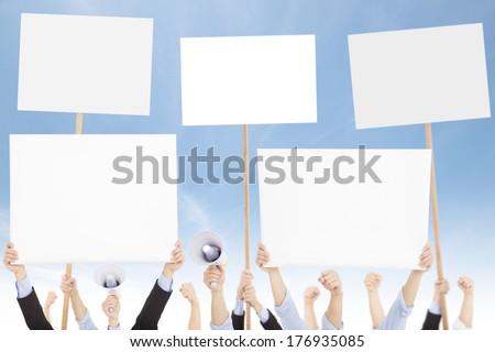 Crowds of people protested against social or political issue  - stock photo