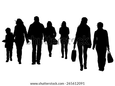Crowds of young guy and girl on white background - stock photo