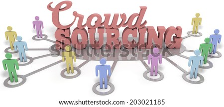 Crowdsource people contribute user generated content to business startup  - stock photo