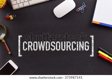 CROWDSOURCING CONCEPT ON BLACKBOARD - stock photo