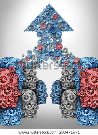 Crowdsourcing technology internet concept and crowdfunding financial symbol as a group of human heads made of gears supporting a new business with social networking funding cooperation. - stock photo