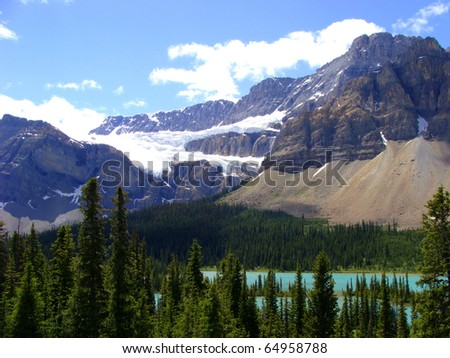 Crowfoot Glacier, Banff National Park - stock photo