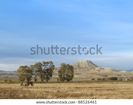 Crowheart Butte, famous mountain, Wyoming. The butte was named after a battle between Shoshone and the Crow. Chief Washakie won and cut out the heart of his opponent; thus, Crowheart Butte. - stock photo