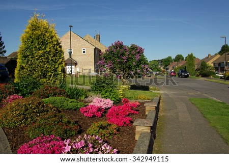 CROWLEY, ENGLAND - June, 2013: Street city in sunny summer day