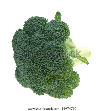 crown broccoli on pure white background