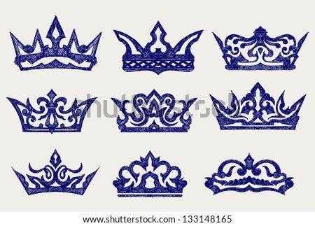 Crown collection. Doodle style. Raster version - stock photo