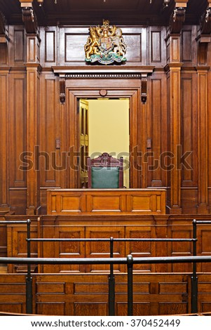 Crown Court Room dating from 1854 - stock photo