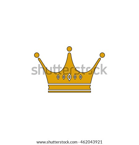 Crown Flat yellow thin line pictogram on white background. Illustration icon